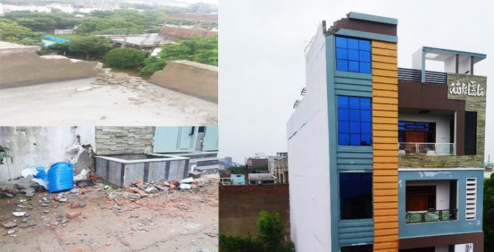 As showers continue to lash the city, lightning hit a house at Shastripuram