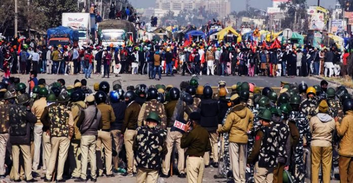 Security tighten at Singhu Border in Middle of Bharat Bandh