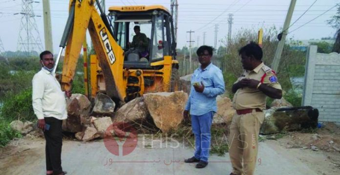 Municipality officials blocked Jalpally bridge road citing susceptible of incidents