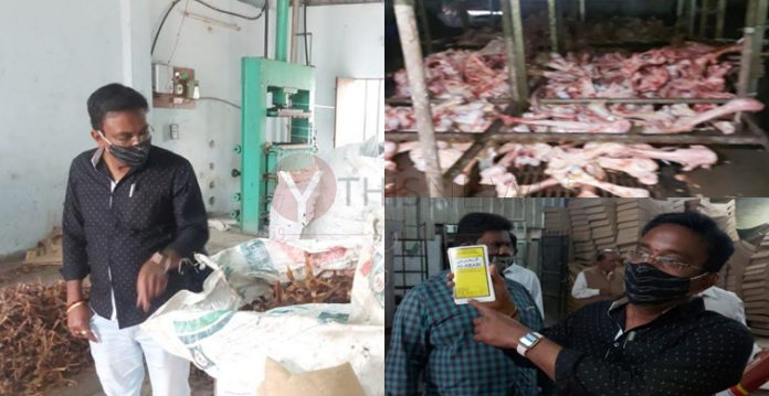 Officials raided illegal animal waste processing factories in Jalpally